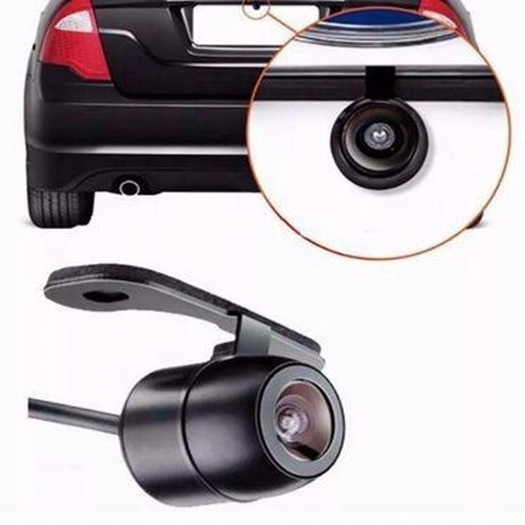 Ilustração de uma câmera de ré na traseira de um carro.