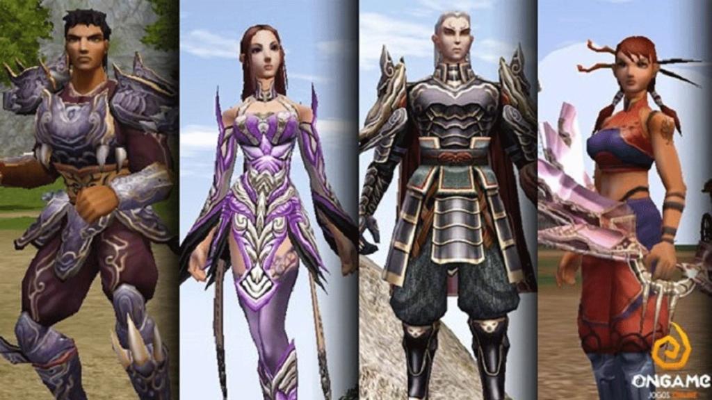Personagens guerreiro, shaman, shura e ninja do Metin 2.