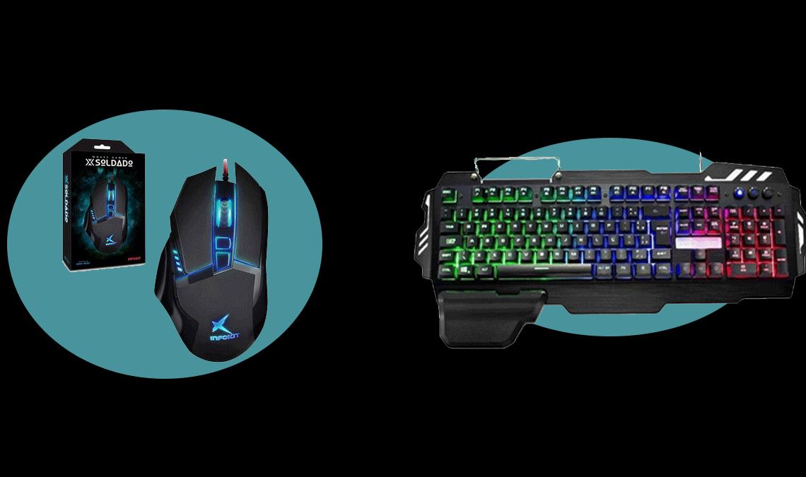 Demonstração de acessórios gamer, com mouse e teclado