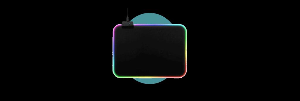 Mouse PAD Médio com LEDs acesos em efeito arco-iris