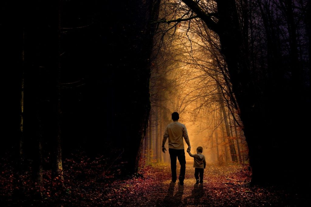 Pai e filho de mãos dadas no meio de uma floresta.
