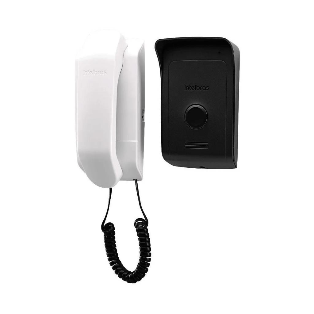 Porteiro Residencial da Intelbras, módulo interno com fone ao lado de módulo externo com intefone