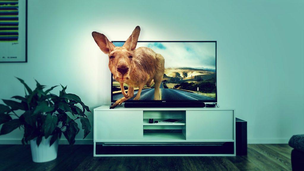Tela poderosa na sala de TV